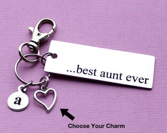 Personalized Aunt Key Chain Best Aunt Ever Stainless Steel Customized with Your Charm & Initial - K622