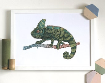 Chameleon // Art print// Illustration // handdrawn // reptile