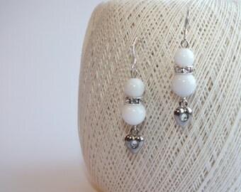 Bridal earrings,Bridal wedding jewellery, Wedding earrings, White earrings, White Jade Earrings, Jade Earrings