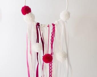 Princess dreamcatcher pink and white pompoms