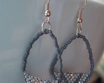 Grey & Rose Chevron Earrings