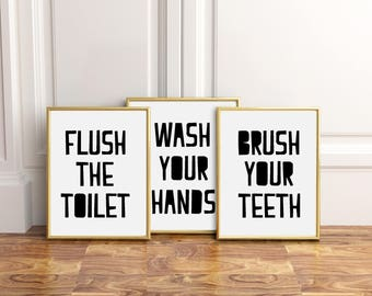 Bathroom Wall Decor, Bathroom Wall Art, Set of 3 Bathroom Prints, Instant Download Bathroom Art, Bathroom Printables, Modern Bathroom Art