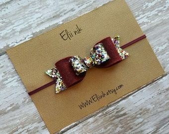 Bow headband, girl bow hair clip or headband, glitter bow hair clip , baby bow headband