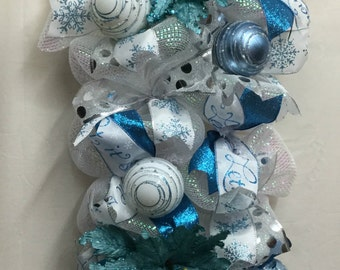 Turquoise Blue and White Poinsettia Christmas Swag, Turquoise Swag, Winter Swag, Deco Mesh Swag, Christmas Decor 146
