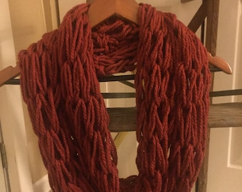 Infinity Scarf, Arm knit, Rust, Women's Scarf, Fashion scarf