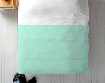 Mint White Duvet, Color Block Duvet, Queen Duvet, King Duvet, Twin Duvet, Minimal Duvet, Modern Bedding, Mint Green Bedding, Minimal Bedding