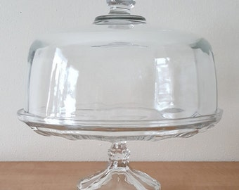Pedestal Glass Cake Plate with Dome Lid~Cupcake Tray~Elegant Glass Dessert Plate~Petit Four Birthday Wedding Shower Cupcake Display Stand