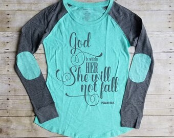 God is Within Her She Will Not Fall, Christian Shirt, Bible Verse Shirt, Psalm 46:5