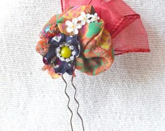 Hair fork, fabric hair accessories, hair stick, fabric flower,kanzashi, hair jewelry, decorative hair bun, hair flower, flower hair fork