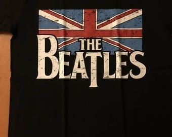 The Fav 4 British Flag John Lennon Ringo Starr Paul McCartney George Harrison Logo Shirt