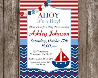 Nautica, Sailboat, Ahoy Baby Shower Invitation - Digital