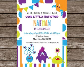 Monster Birthday Party Invitation-Digital