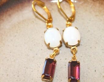 Vintage White Opal and Amethyst Baguette Octagon Earings Dangles