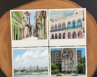 "Polaroid Film Ceramic Coasters, Set: ""Cuba Si!"""