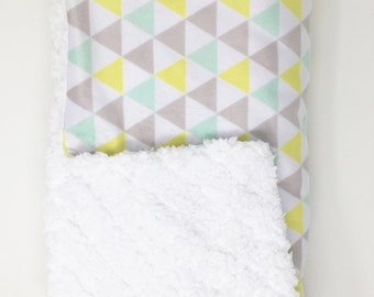 Triangle Minky Blanket. Minky Blanket. The Original Blanket. Yellow and Grey Blanket. Cloud Blanket.