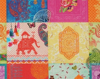 Solid cotton fabric of Indian symbolism elephant Temple - 100% pure cotton