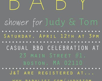 Custom Baby Shower Invitations - Printable