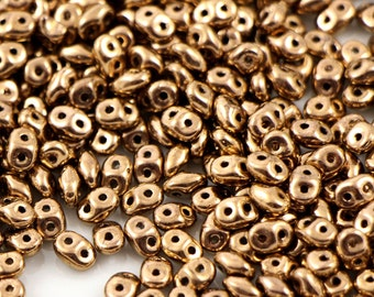 10 gr Superduo Gold Bronze beads 5*2.5 mm, Czech glass beads, two-hole beads CHOOSE QUANTITY for discount