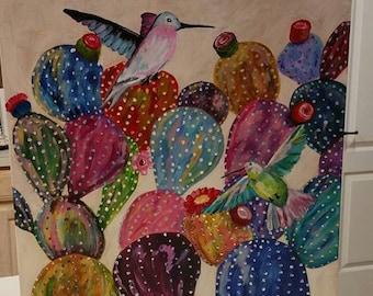 Cactus, Hummingbirds, canvas, original, art, acrylic, painting, vibrant colors
