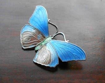 Sterling Silver Enamel Butterfly Brooch / Pin, Blue Enamel and 925 Silver, Vintage Scandinavian, Some Damage