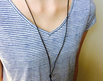 Leather Cord Wrap Necklace With Green Bead Detail // Leather Necklace // Cord Necklace // Choker // BOHO