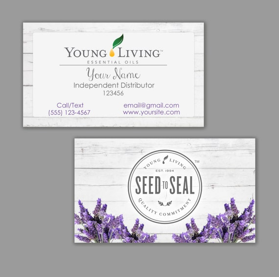 Young Living Business Card Template: White Wood Young Living Essential Oils Business Card