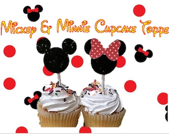 Mickey & Minnie Mouse Cupcake Toppers!  Set of 12!