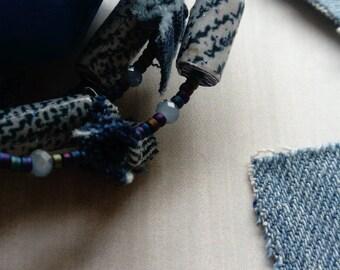 blue jeans - beaded cuff bracelet