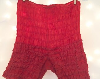 1950s Red Lace High Waist Bloomers - Vintage Retro Lingerie Shorts for Everyday, Burlesque, or Wedding