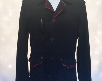 Black Cotton Gothic Punk Jacket with Red Accent Trim and Zipper Detail - 1980's - Size Large