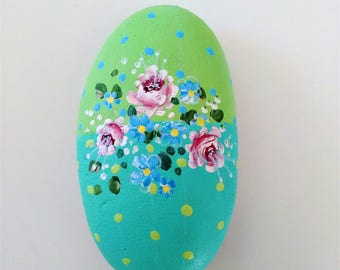 Rose Bay - hand-painted rock, for giving and for getting, turquoise, green, pink roses, shabby chic
