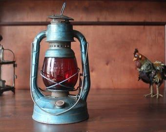 Vintage Dietz Blue Little Wizard Lantern with Original Red Globe, hurricane lantern, railroad lantern, barn lantern