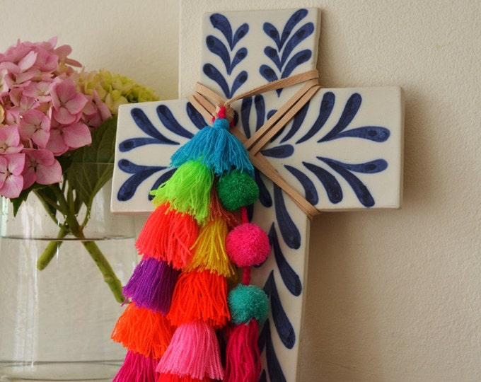 NOW Shipping from Australia: Blue & White Artisan Decorative Ceramic Cross with Colourful Tassel/Pom-pom trim
