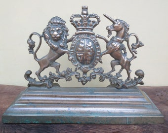 Antique Solid Brass Coat Of Arms '