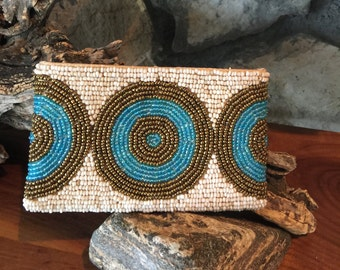Hand Beaded Coin Purse Bronze, Turquoise and Cream. Made in Bali
