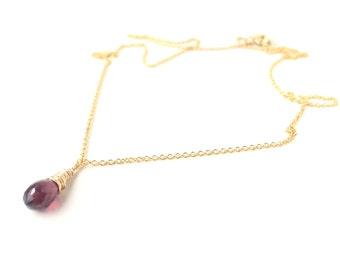 14k gold filled necklace with garnet