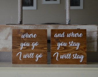 Ruth Scripture Double Mini Signs / Ruth Scripture Sign / Book of Ruth / Scripture sign / mini wood signs