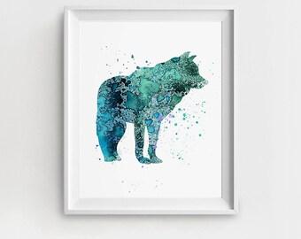 Nursery Art, Wolf Print, Digital Wolf Art, Wolf Nursery Art, Turquoise Wolf, DIY Wall Art, Watercolor Wolf, Wolf Wall Art, Large Wall Art