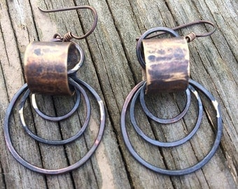 copper and brass circle dangle earrings