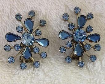 Lovely blue crystal Lerue clip earrings.