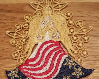 Angel Free Standing Lace Patriotic Angel with Backdrop