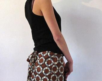 Wax skirt, skirt, mini skirt or short skirt, skirt, fantasy, wax, African print skirt cotton summer skirt circles Brown