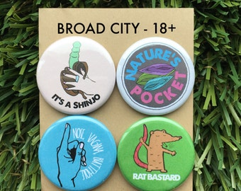 """Broad City Magnet Set or Button Set - Yas Queen, Gift for Her, New York, Pinbacks, Shinjo, Jews, Pegging, Ilana, Abbi - 1.25"""" or 2.25"""""""