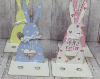Personalised  Easter bunny Gift   Shabby Chic   Wooden egg holder   Easter Gift   Happy Easter