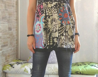 Extravagant Variegated Top / Desigual Tunic / Lace Edged T-shirt / Boho Tunic