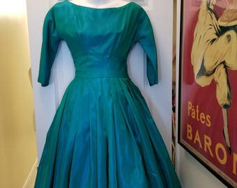 Beautiful Handmade 50's Emerald Green Satin Party Dress!
