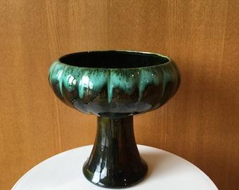 Vintage Drip Glaze Aqua and Dark Green Pedestal Vase