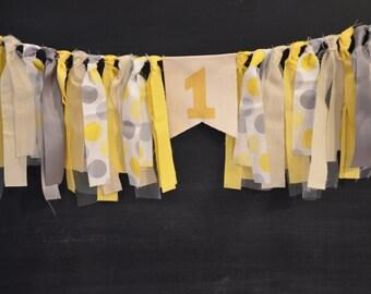 Yellow Grey Dots Birthday banner, First birthday banner, High Chair Birthday Banner