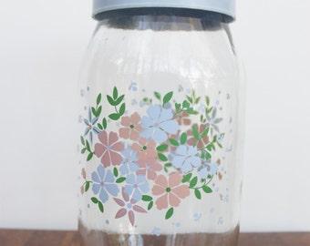 Pastel Blue and Pink Glass Floral Carlton Glass Storage Jar