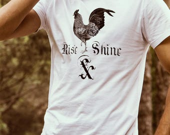 Rooster T-shirt for Men -  Rise and Shine - Men's Rooster Shirt - Nature T-shirt - Farmer Shirt - Farmer Gifts